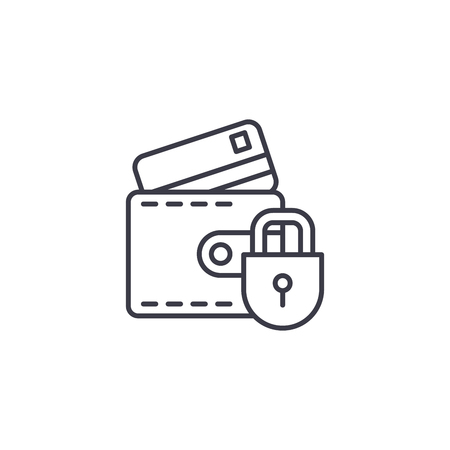 Protection of credit cards linear icon concept. Protection of credit cards line vector sign, symbol, illustration.