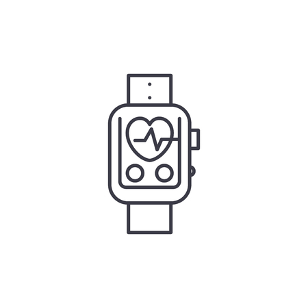 Pulsometer linear icon concept. Pulsometer line vector sign, symbol, illustration. Çizim