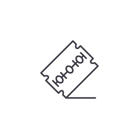 Razor blade linear icon concept. Razor blade line vector sign, symbol, illustration.