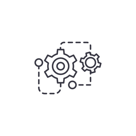 Project restructuring linear icon concept. Project restructuring line vector sign, symbol, illustration.