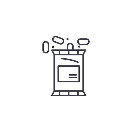 Roasted peanuts linear icon concept. Roasted peanuts line vector sign, symbol, illustration.