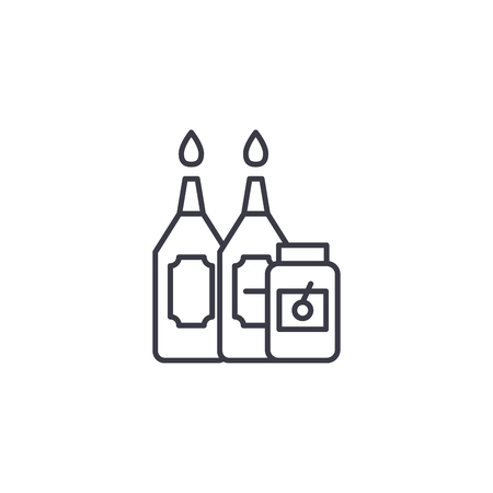 Sauces linear icon concept. Sauces line vector sign, symbol, illustration.