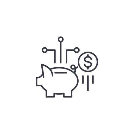 Savings linear icon concept. Savings line vector sign, symbol, illustration. Foto de archivo - 102416321