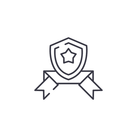 Shield band linear icon concept. Shield band line vector sign, symbol, illustration.