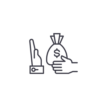 Refusal of a bribe linear icon concept. Refusal of a bribe line vector sign, symbol, illustration. Illustration