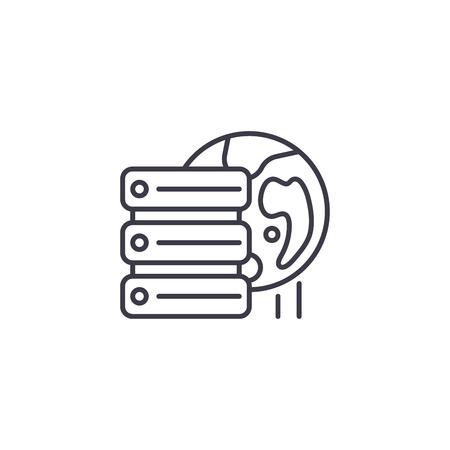 Remote database server linear icon concept. Remote database server line vector sign, symbol, illustration.