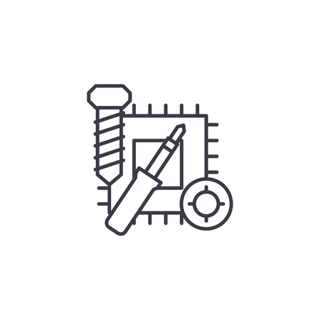 Repair of electronics linear icon concept. Repair of electronics line vector sign, symbol, illustration. Illustration