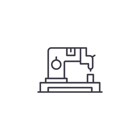 Sewing machine linear icon concept. Sewing machine line vector sign, symbol, illustration.