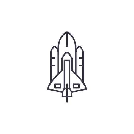 Space shuttle linear icon concept. Space shuttle line vector sign, symbol, illustration.