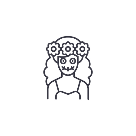 Spanish woman-95 linear icon concept. Spanish woman-95 line vector sign, symbol, illustration. 矢量图像