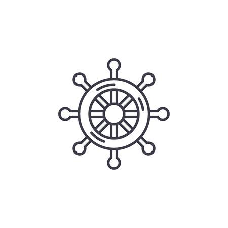Steering wheel linear icon concept. Steering wheel line vector sign, symbol, illustration.
