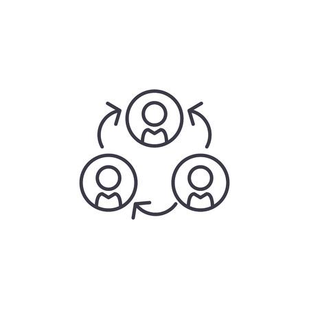 Subordination linear icon concept. Subordination line vector sign, symbol, illustration.