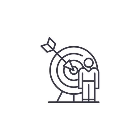 Target market audience linear icon concept. Target market audience line vector sign, symbol, illustration. Stock Illustratie