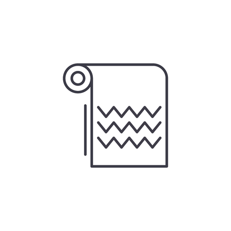 Towel linear icon concept. Towel line vector sign, symbol, illustration.