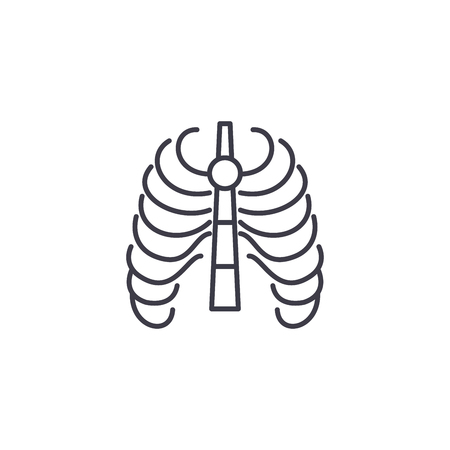 Thoracic cage linear icon concept. Thoracic cage line vector sign, symbol, illustration.