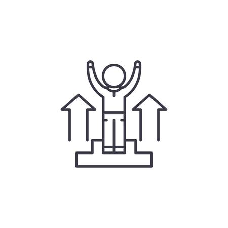Triumph linear icon concept. Triumph line vector sign, symbol, illustration.