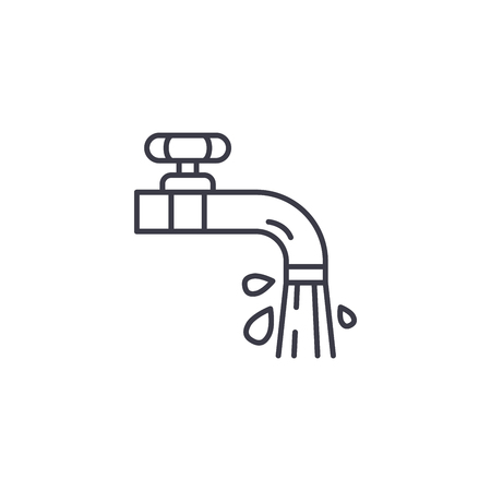 Water taps linear icon concept. Water taps line vector sign, symbol, illustration.