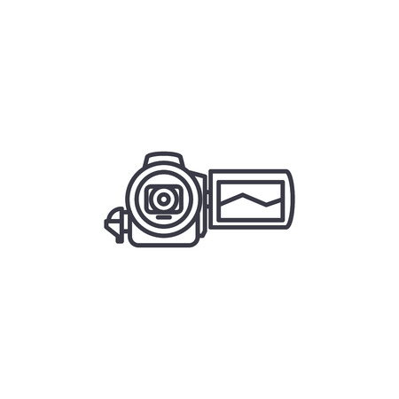 Video camera linear icon concept. Video camera line vector sign, symbol, illustration.