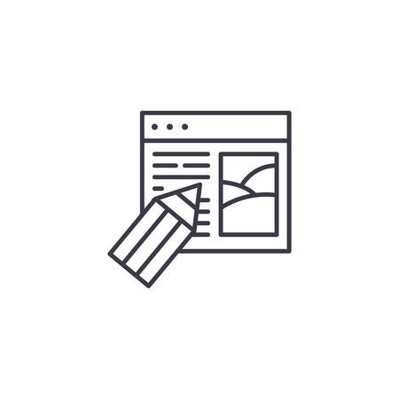 Web design company linear icon concept. Web design company line vector sign, symbol, illustration.