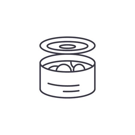 Tinned food linear icon concept. Tinned food line vector sign, symbol, illustration. Illustration