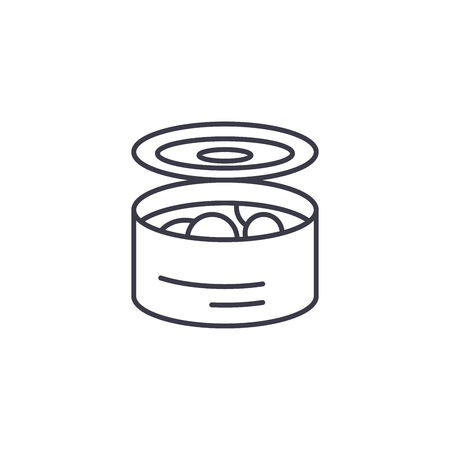 Tinned food linear icon concept. Tinned food line vector sign, symbol, illustration. Иллюстрация