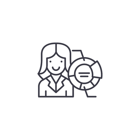 Woman Analyst linear icon concept. Woman Analyst line vector sign, symbol, illustration.