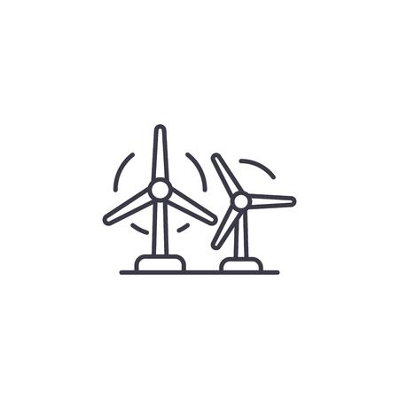 Wind farm linear icon concept. Wind farm line vector sign, symbol, illustration.