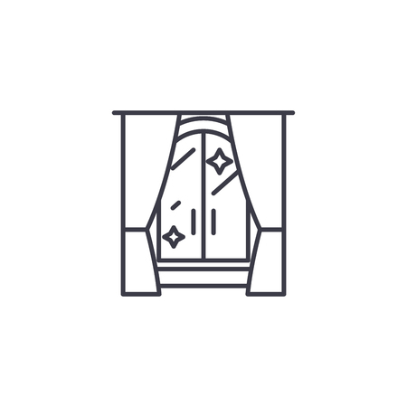 Window cleaning linear icon concept. Window cleaning line vector sign, symbol, illustration.
