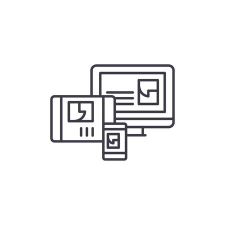 Website adaptation linear icon concept. Website adaptation line vector sign, symbol, illustration.