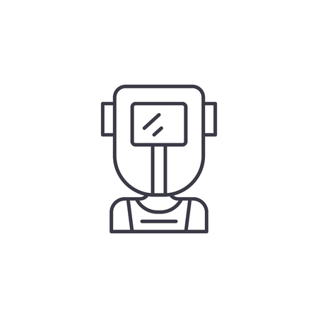 Welder linear icon concept. Welder line vector sign, symbol, illustration.  イラスト・ベクター素材