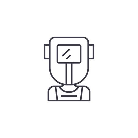 Welder linear icon concept. Welder line vector sign, symbol, illustration. 向量圖像