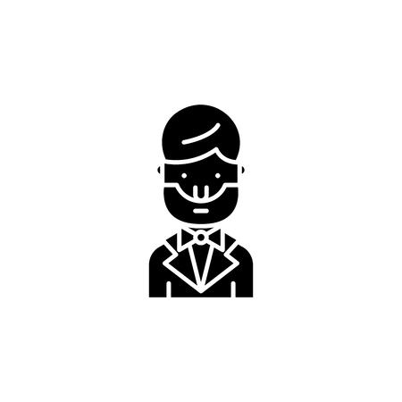 Abraham lincoln black icon concept. Abraham lincoln flat  vector symbol, sign, illustration.