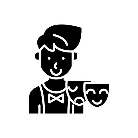 Acting skills black icon concept. Acting skills flat vector symbol, sign, illustration.