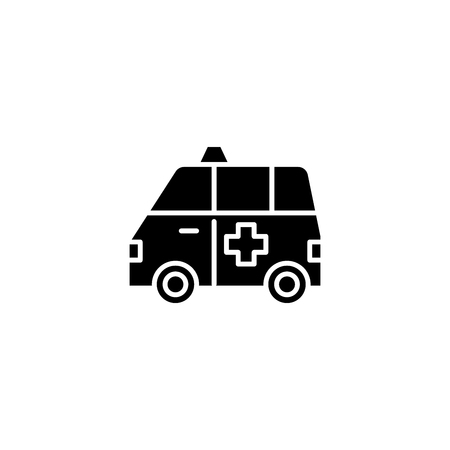 Ambulance black icon concept. Ambulance flat  vector symbol, sign, illustration. 向量圖像