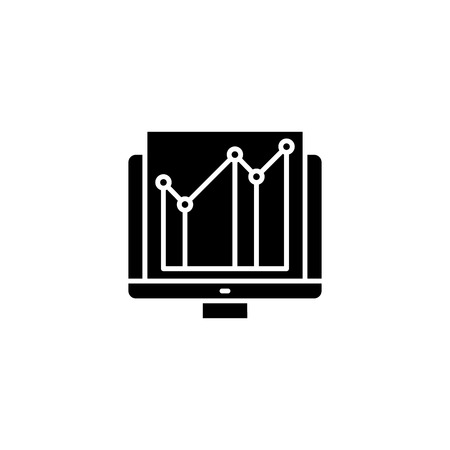 Analytical computer data black icon concept. Analytical computer data flat  vector symbol, sign, illustration. Illustration