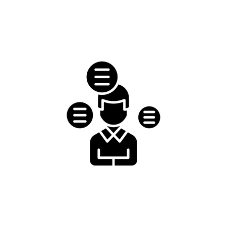 Answering questions black icon concept. Answering questions flat  vector symbol, sign, illustration.