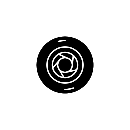 Aperture black icon concept. Aperture flat  vector symbol, sign, illustration.