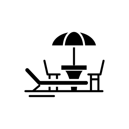 Strandvakantie zwart pictogram concept. Strandvakantie platte vector teken, symbool, afbeelding.