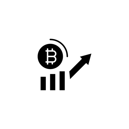 Bitcoin demand increase black icon concept. Bitcoin demand increase flat  vector symbol, sign, illustration. Ilustração