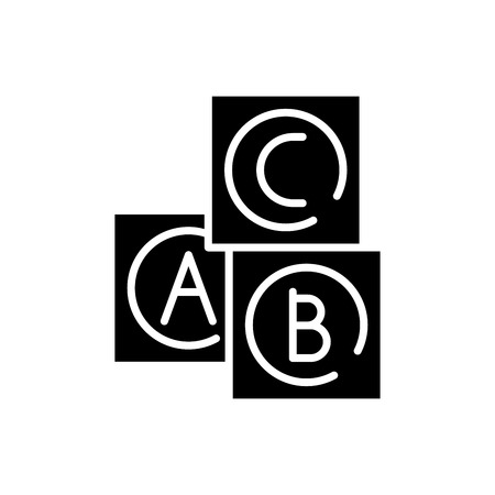 Baby cubes black icon concept. Baby cubes flat  vector symbol, sign, illustration.