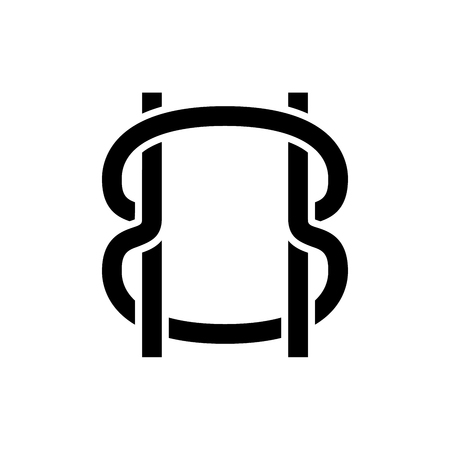 Bound ropes black icon concept. Bound ropes flat  vector symbol, sign, illustration.