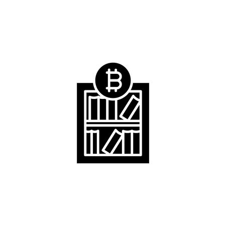 Bitcoin market research black icon concept. Bitcoin market research flat  vector symbol, sign, illustration.