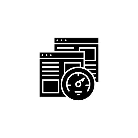 Browser speed test black icon concept. Browser speed test flat vector symbol, sign, illustration.