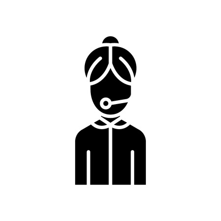 Call center specialist black icon concept. Call center specialist flat  vector symbol, sign, illustration. Ilustração