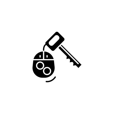 Car keys black icon concept. Car keys flat  vector symbol, sign, illustration.
