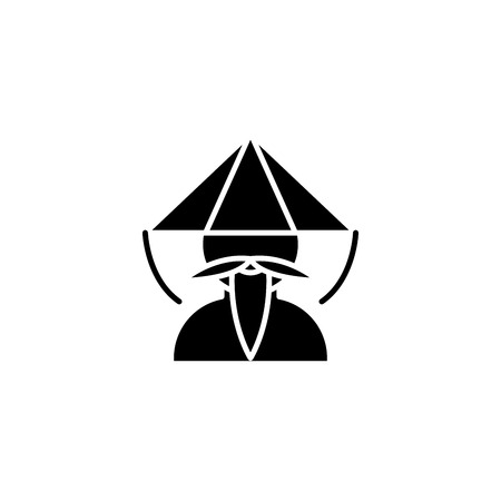 Chinese monk black icon concept. Chinese monk flat  vector symbol, sign, illustration. Illustration