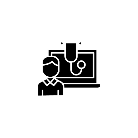 Computerized diagnostics black icon concept. Computerized diagnostics flat  vector symbol, sign, illustration.