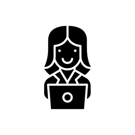Computer work black icon concept. Computer work flat  vector symbol, sign, illustration.