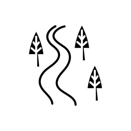 Concepto de icono negro de carretera nacional. Country road plano vector símbolo, signo, Ilustración. Ilustración de vector