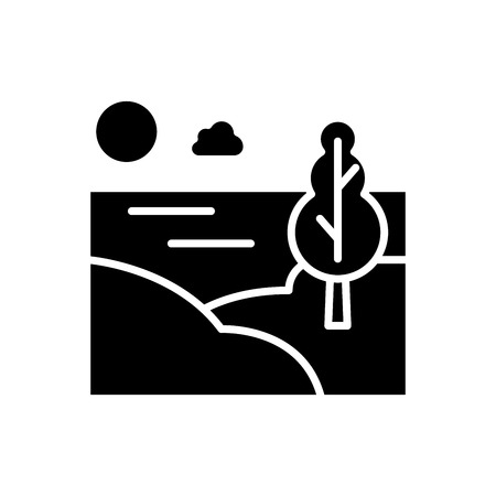 Countryside area black icon concept. Countryside area flat  vector symbol, sign, illustration.